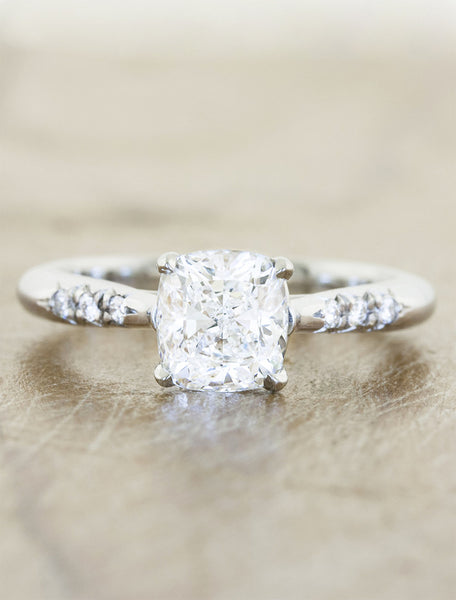 Unique vintage inspired engagement ring;caption:1.25ct. Cushion Cut Diamond 14k White Gold