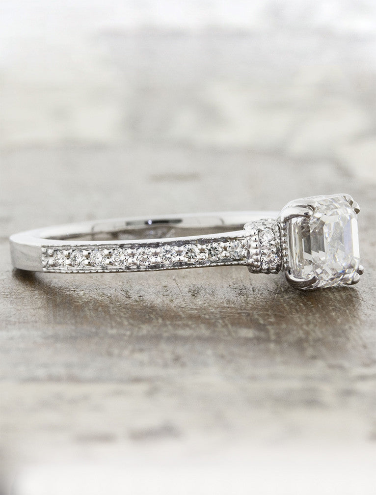 asscher cut diamond engagement ring, antique-inspired