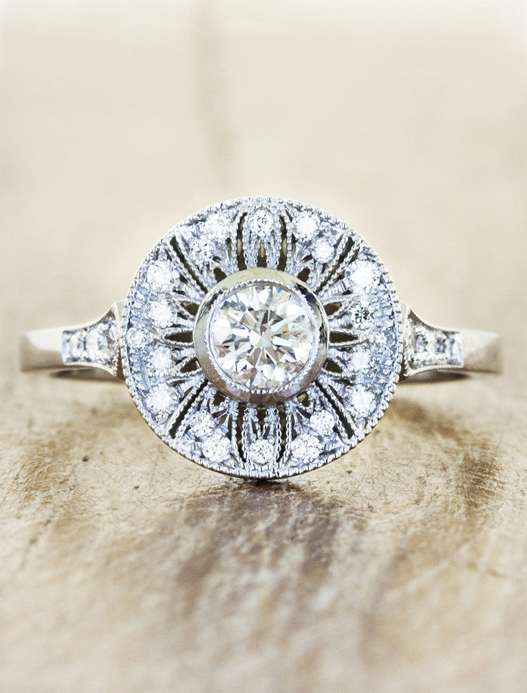 Vintage inspired engagement ring, caption:0.23ct. Round Diamond Platinum
