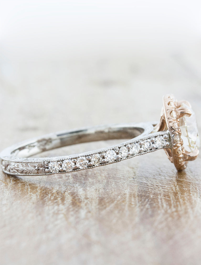 Gypsy Round Diamond Halo Engagement Ring with Hand Engravings in