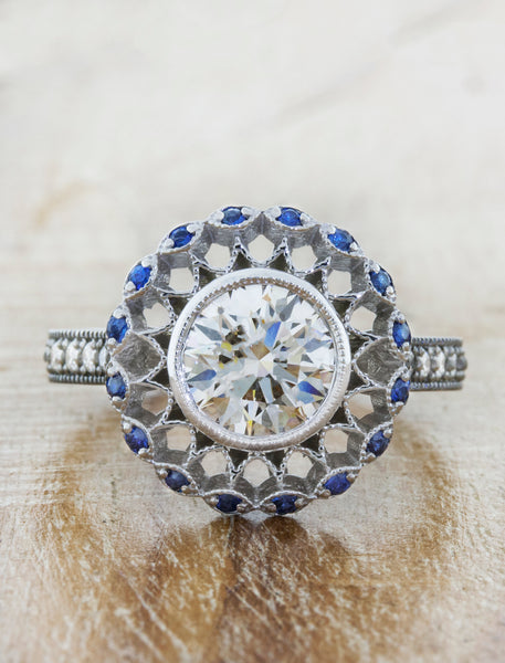 Sapphire Halo Vintage Inspired Engagement Ring