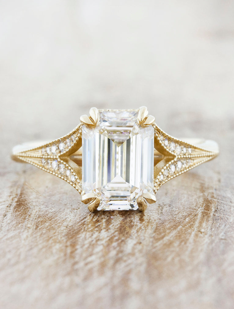 Emerald Diamond Split Band Engagement Ring. caption:Shown with a 1.5ct emerald cut diamond