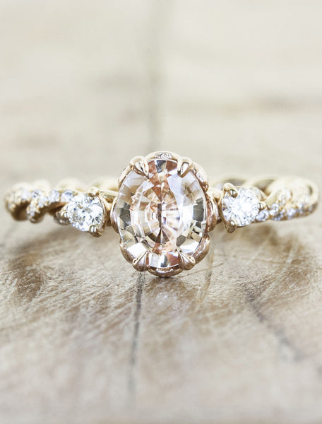 Vintage inspired engagement ring rope band;caption:Customized with an 0.95ct oval Sapphire. 14k Rose Gold