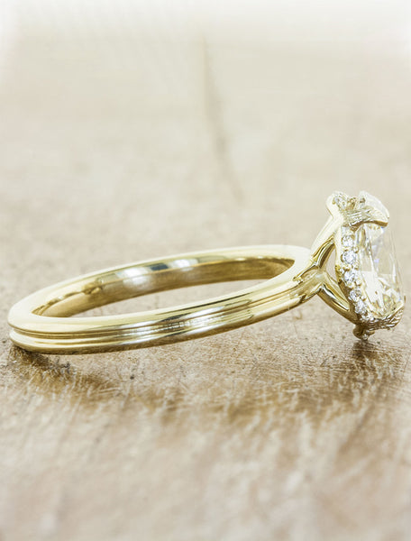 sleek modern gold band diamond engagement ring