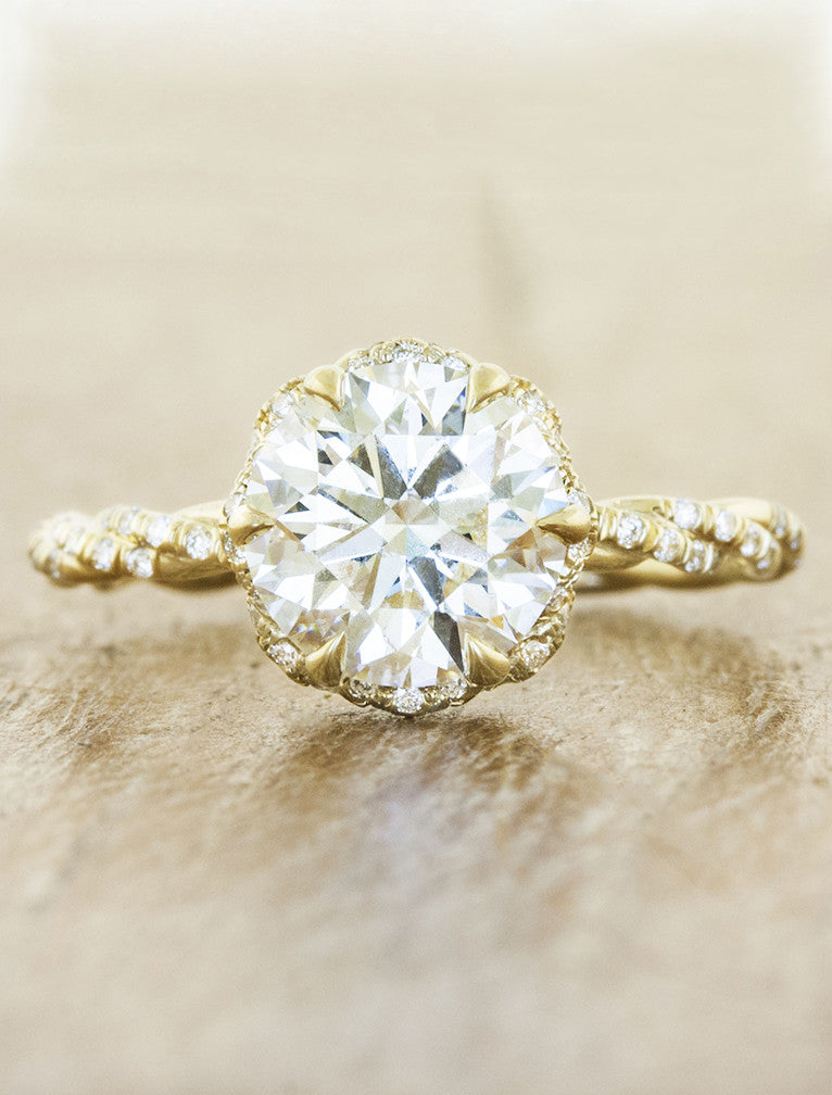 Constance Twisted Band Round Diamond Ring