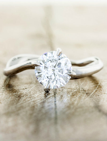 Unique engagement ring - Aurora caption:1.00ct. Round Diamond 14k White Gold