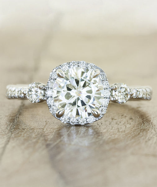 halo cushion cut diamond engagement ring side diamonds