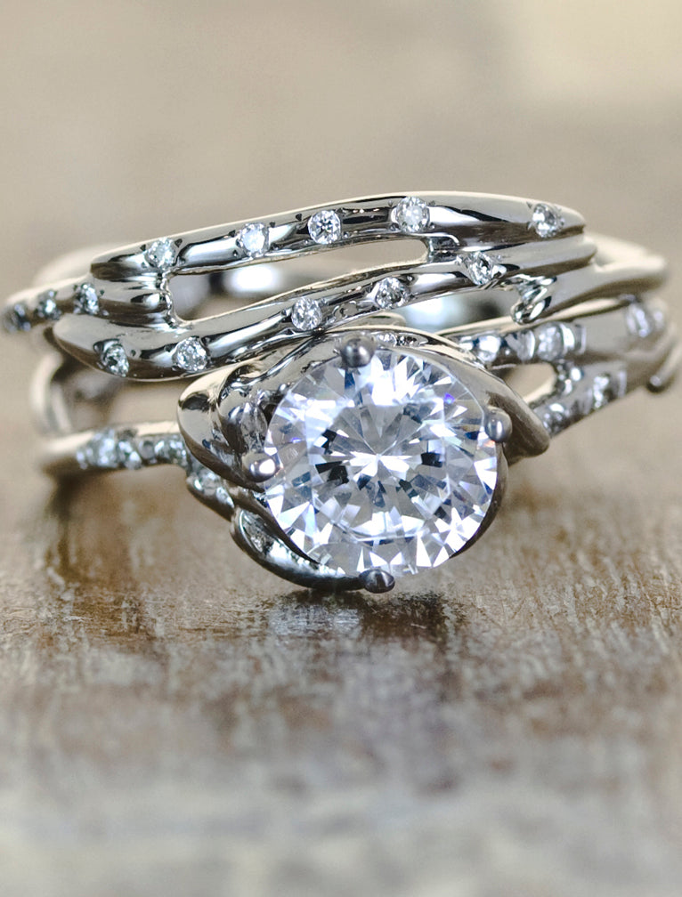 Unique Engagement Rings Ken & Dana Design - Daya Selene pairingcaption:1.00ct. Round Diamond 14k White Gold paired with Selene wedding band