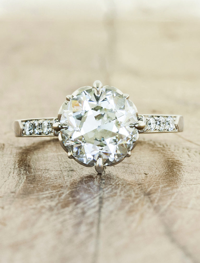 Vintage inspired collection caption:1.50ct. Round Diamond 14k White Gold