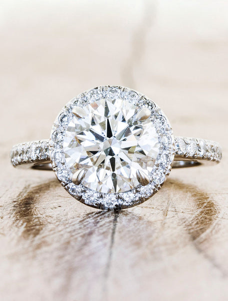 A Classic Halo Pave Engagement Ring
