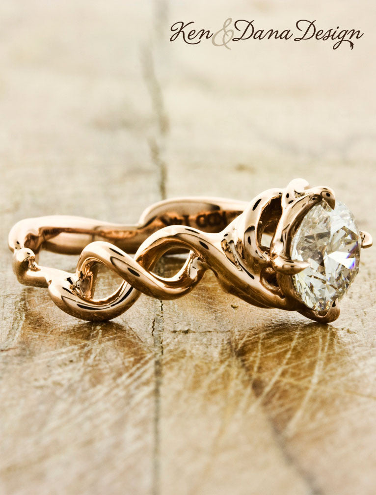 unique twisted double-helix band diamond engagement ring - side view