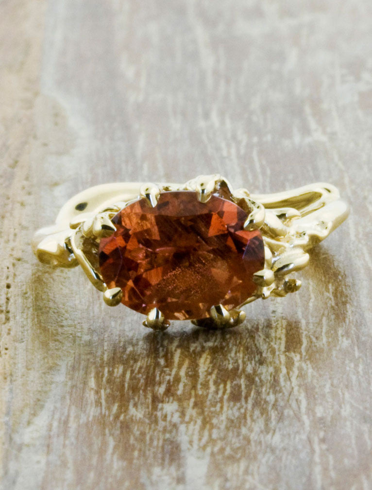 sunstone engagement ring, organic band
