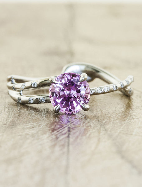 purple sapphire engagement ring, split shank band