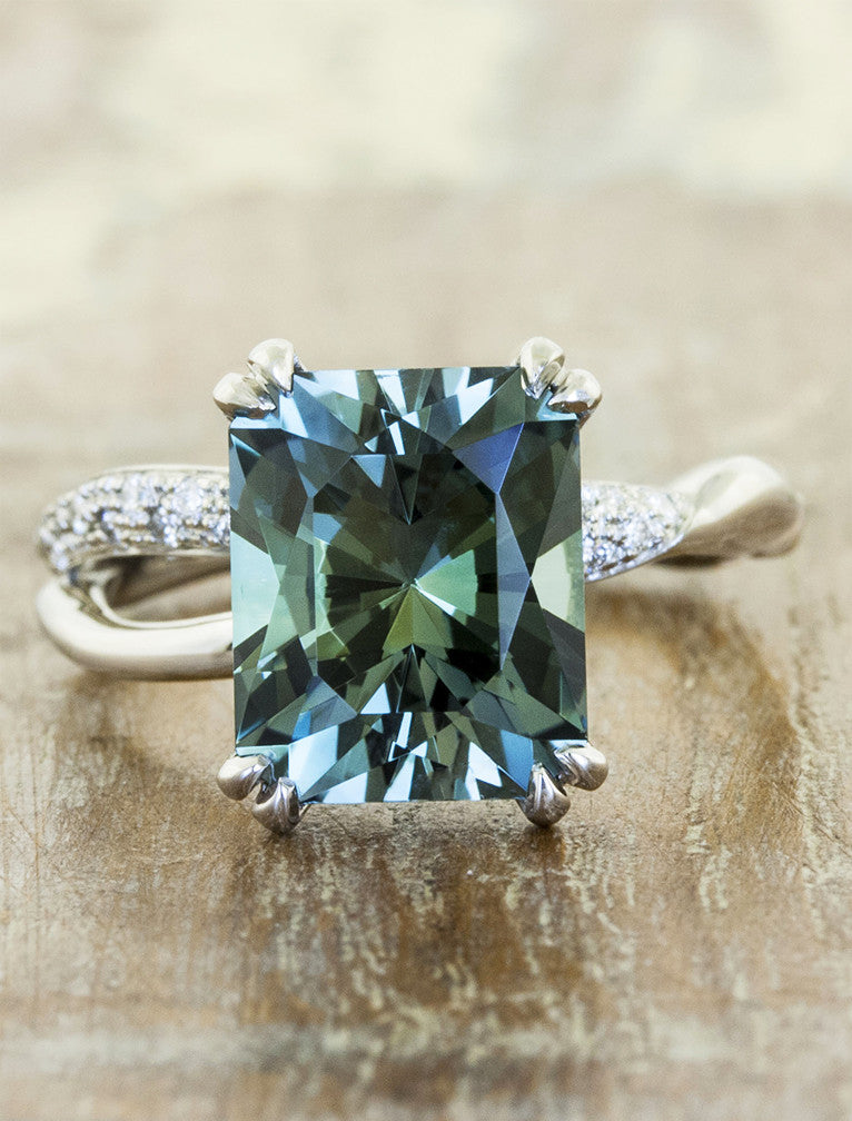 Sage Radiant Cut Montana Sapphire Ring Wave Band Ken