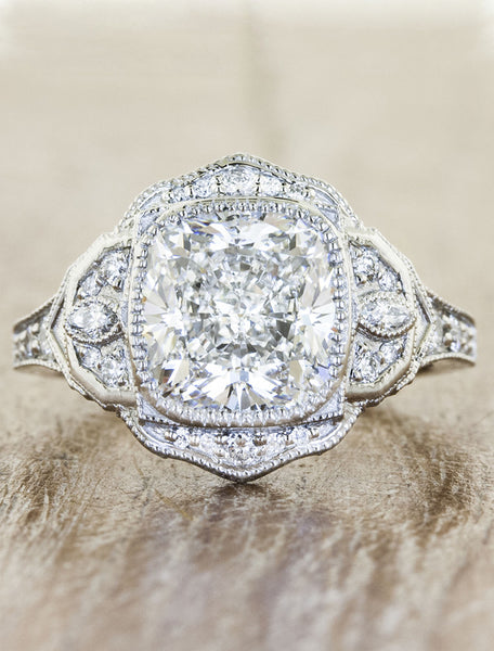 Petal Halo Diamond Ring caption:3.02ct. Cushion Cut Diamond Platinum