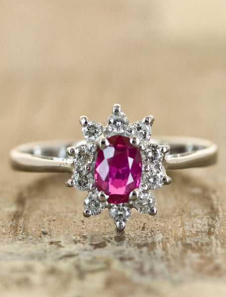 Ruby Halo Engagement Ring