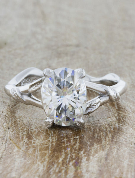Nature inspired engagement ring;caption:1.20ct. Oval Diamond 14k White Gold