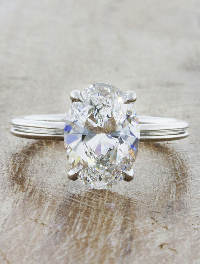 unique oval diamond engagement ring, double band