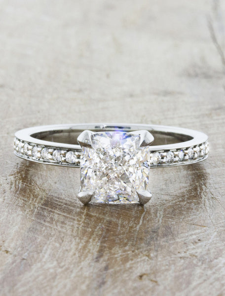 Classic solitaire pave band. caption:Customized with a 1.75ct. Cushion Cut Diamond, 18k White Gold