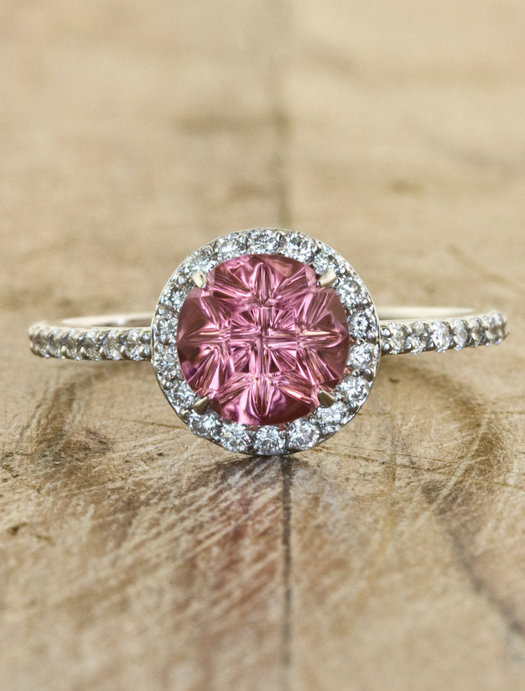 Tourmaline Halo Engagement Ring