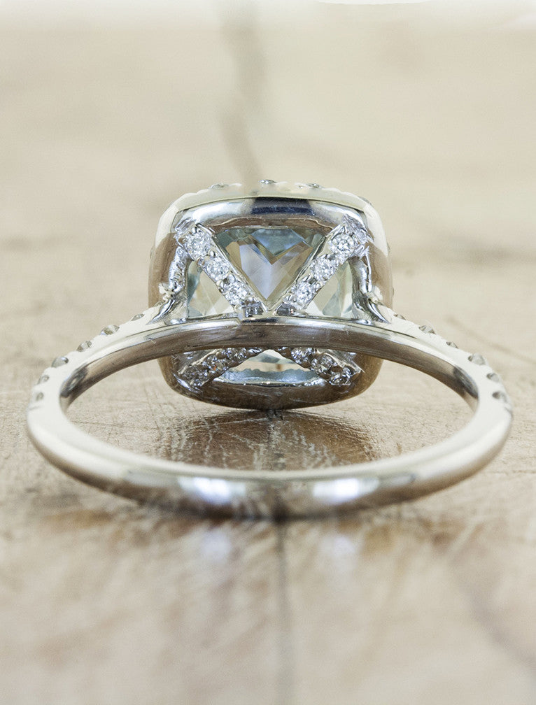 cushion cut halo aquamarine diamond engagement ring - basket setting