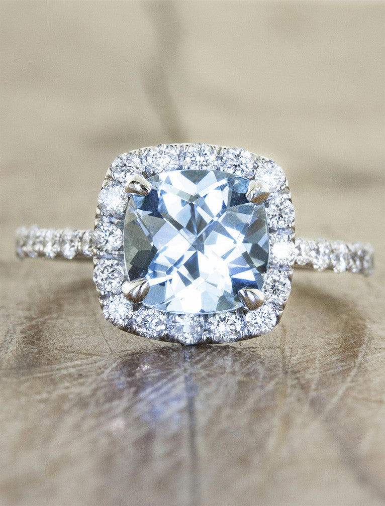 cushion cut halo aquamarine diamond engagement ring
