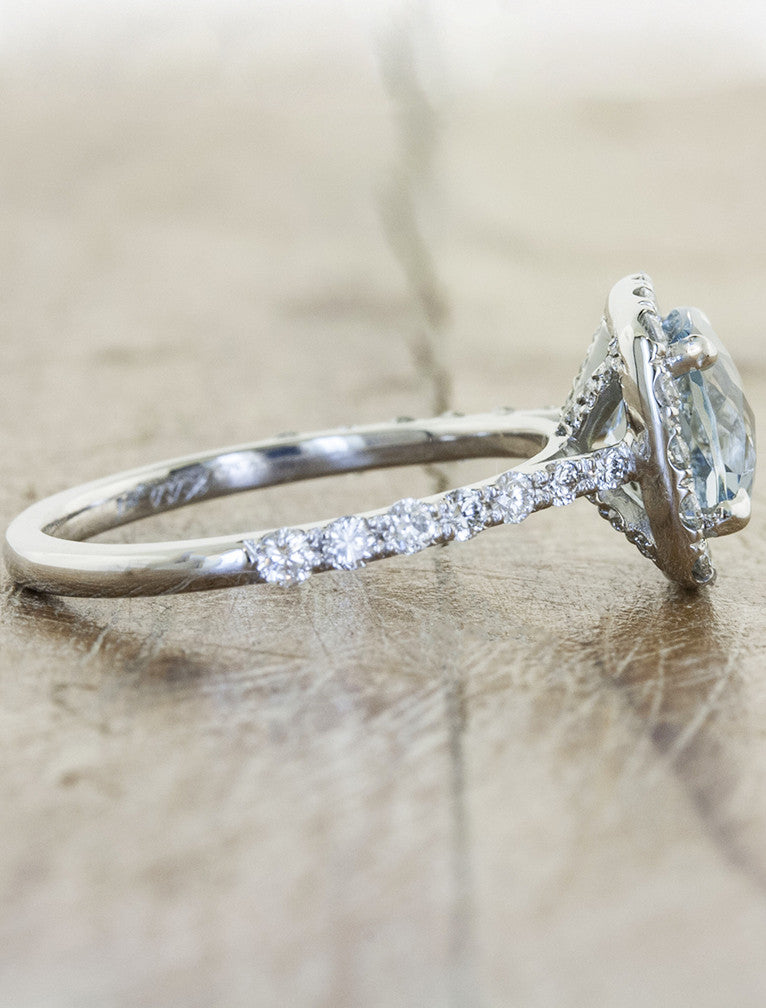 cushion cut halo aquamarine diamond engagement ring - studded band