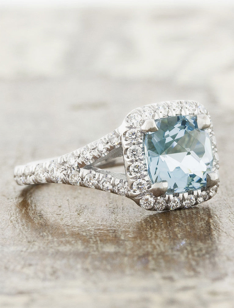 Suresha Halo Cushion Cut Aquamarine Engagement Ring Ken