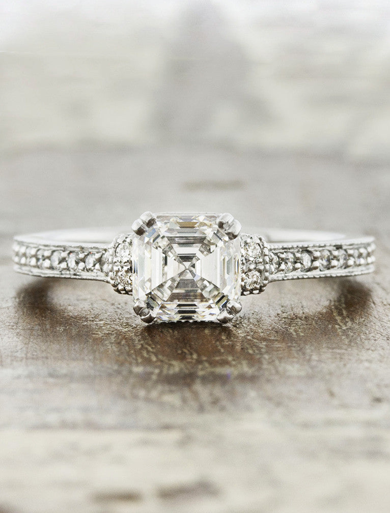 asscher cut diamond ring, vintage-inspired