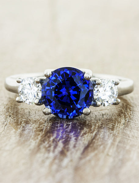 three stone diamond & sapphire engagement ring