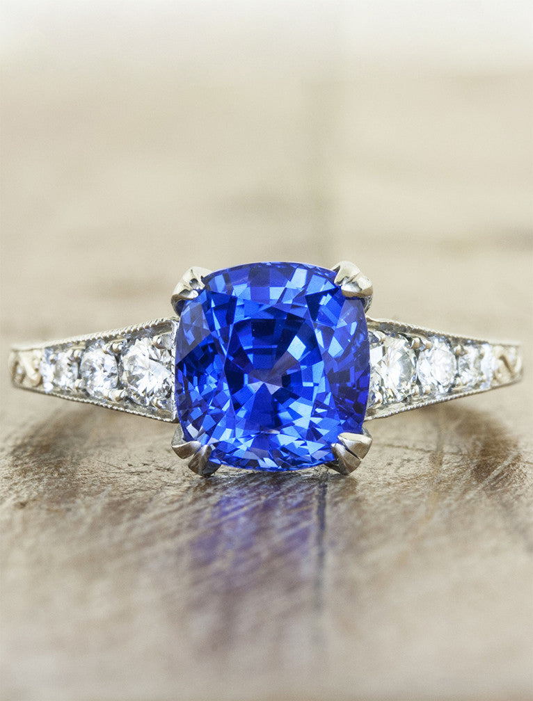 Vanessa Vintage Inspired Cushion Cut Sapphire Ring Ken