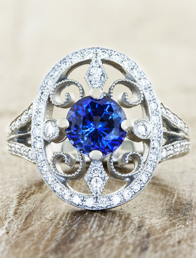 Annalise Vintage Inspired Sapphire Engagement Ring Ken