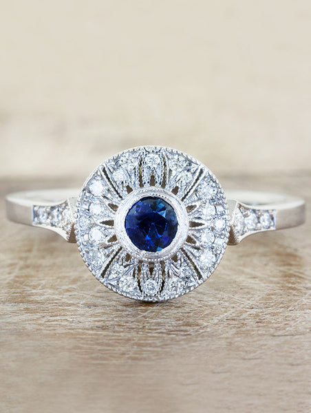 Vintage inspired engagement ring, caption:0.15ct. Round Sapphire 14k White Gold