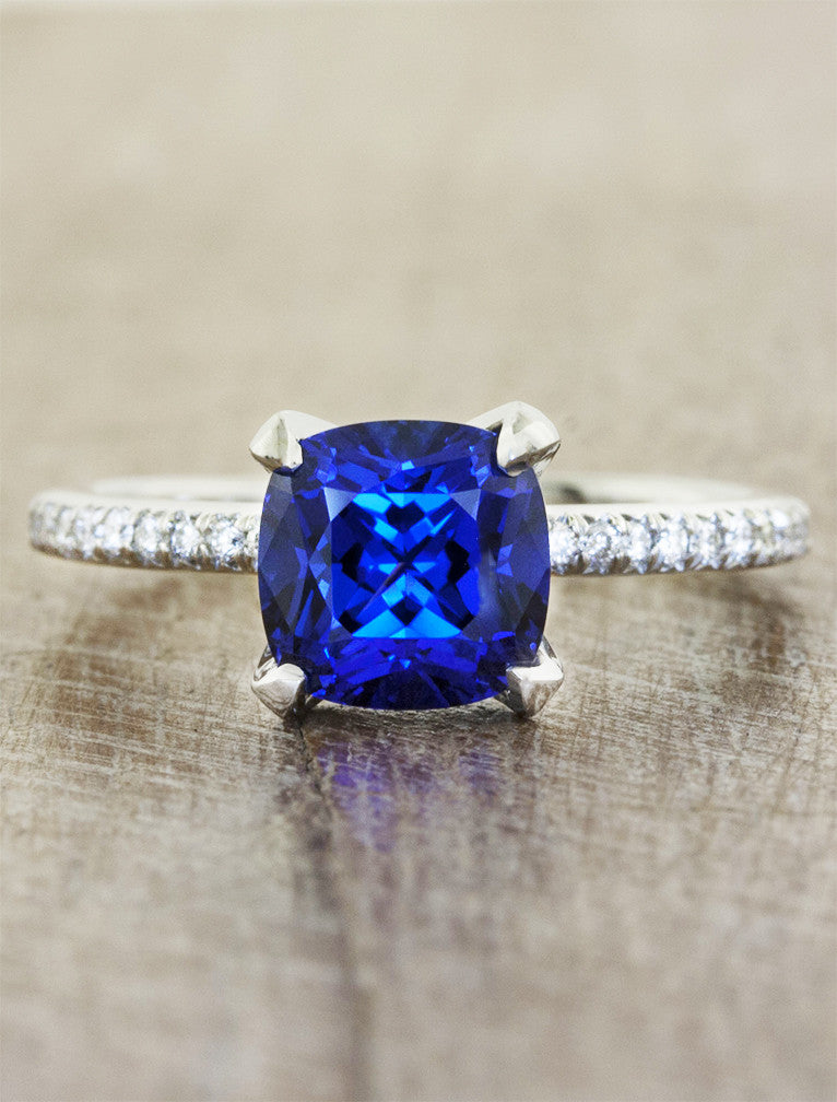 Jessamine Elegant Cushion Cultured Blue Sapphire Ring