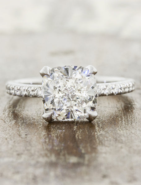 elegant cushion cut diamond ring platinum band