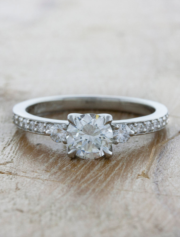 Classic Three Stone Round Cut Diamond Ring