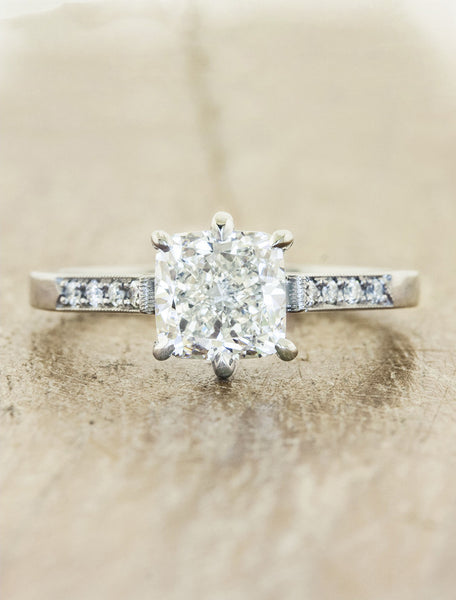 Vintage inspired collection caption:1.60ct. Cushion Cut Diamond Platinum