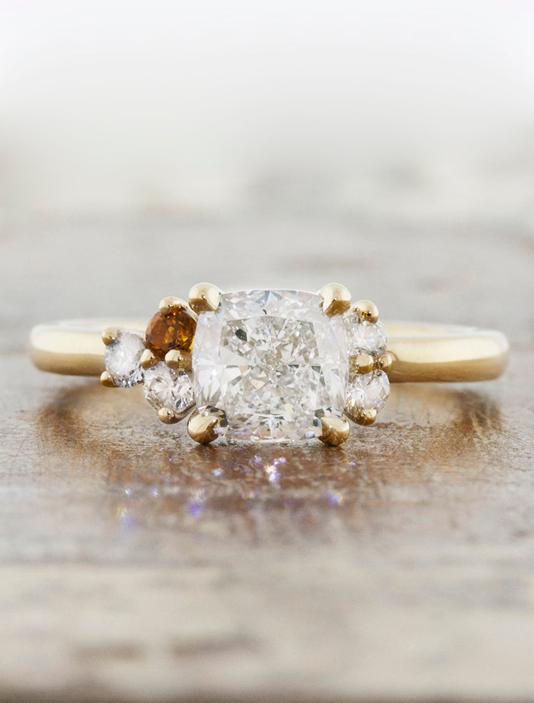 Diamond Cluster Engagement Ring with Citrine Accents
