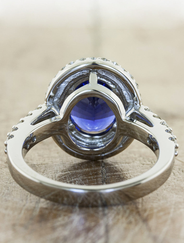 double halo oval sapphire engagement ring - rear view