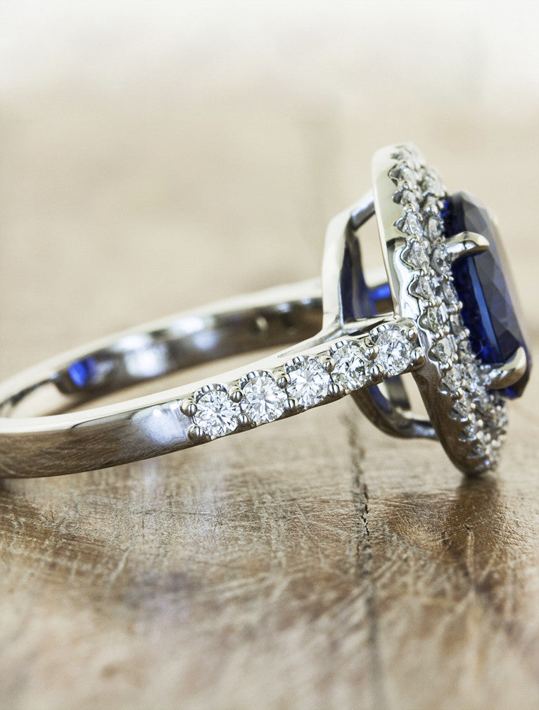 double halo oval sapphire engagement ring - side view