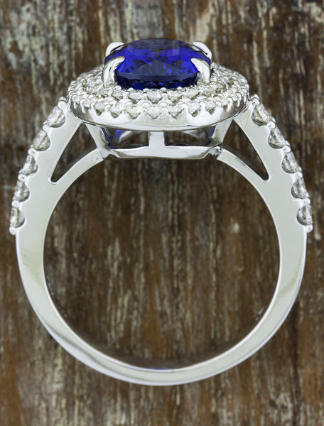 double halo oval sapphire engagement ring - top view
