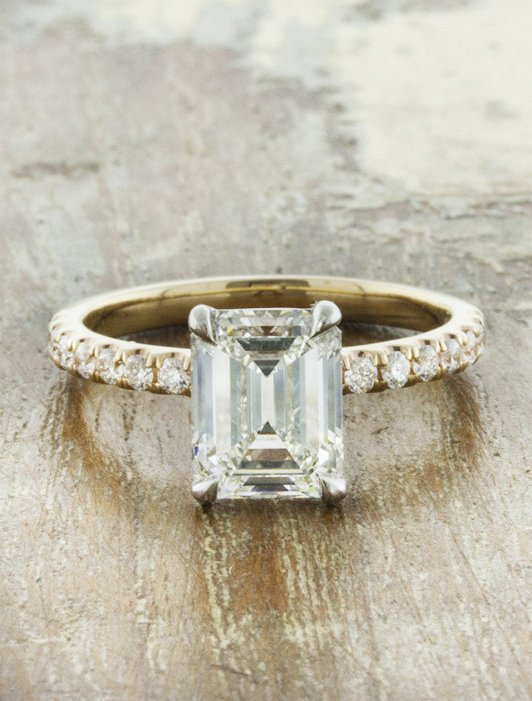 classic emerald cut diamond solitaire engagement ring, mixed metal setting - yellow gold