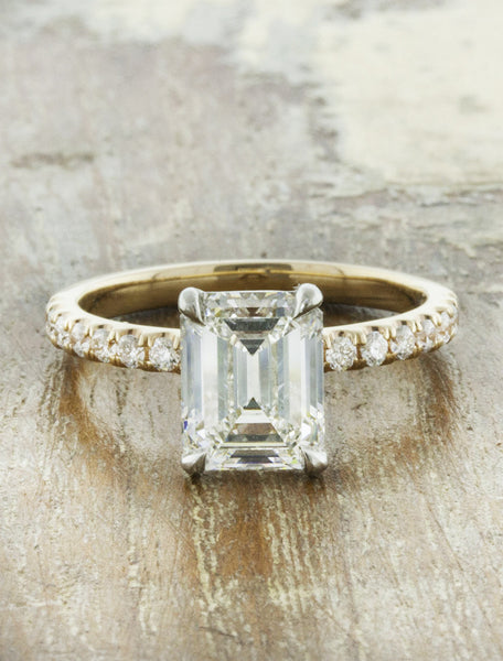 classic emerald cut diamond solitaire engagement ring, mixed metal setting - yellow gold;caption:1.50ct. Emerald Cut Diamond 14k Yellow Gold and Platinum