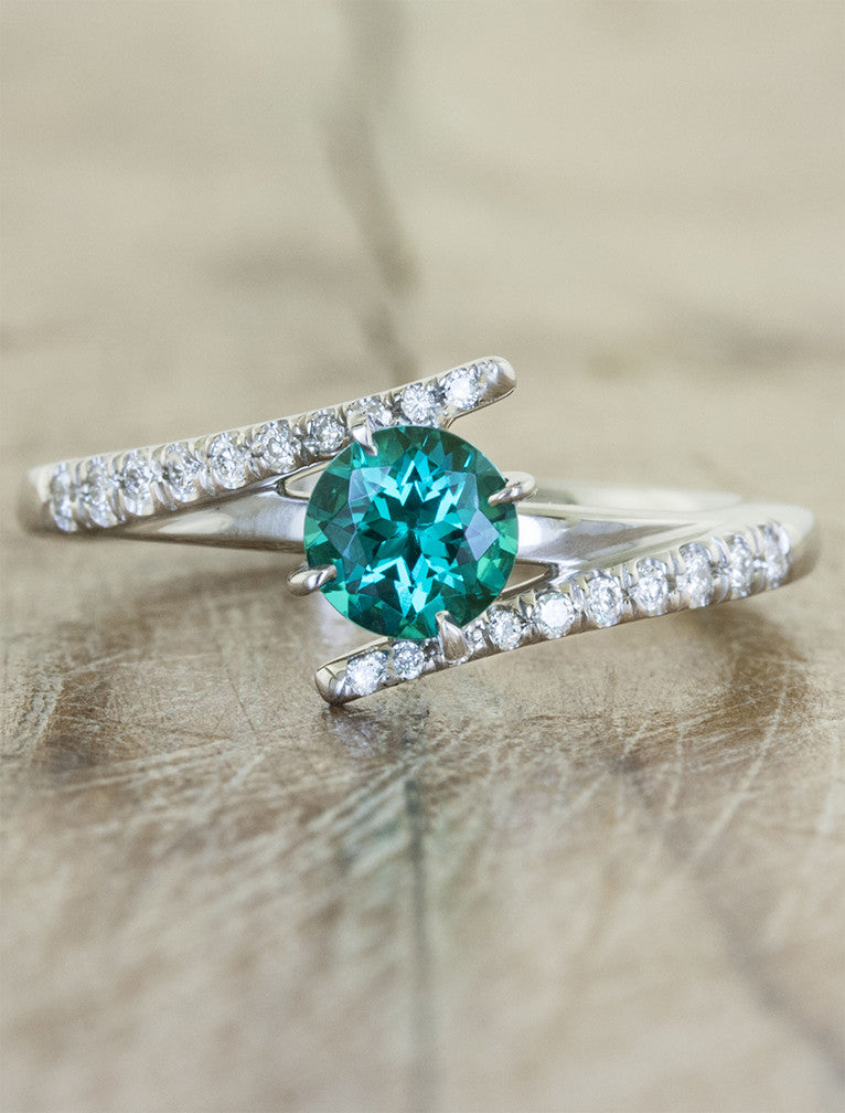cultured green emerald engagement ring, diamond band