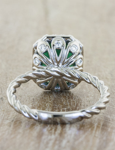 vintage inspired emerald engagement ring