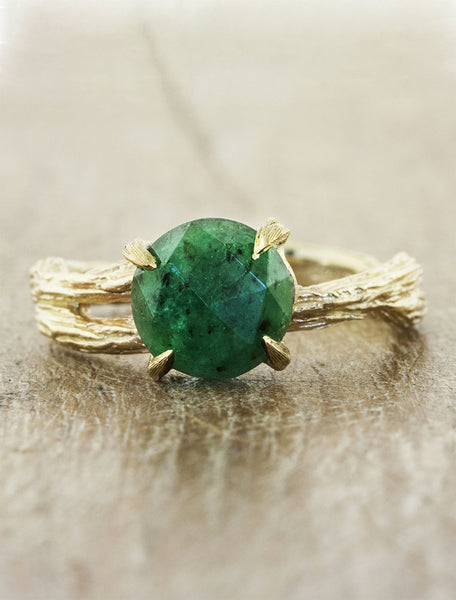 unique asymmetrical band bark texture;caption:1.70ct. Round Emerald 14k Yellow Gold