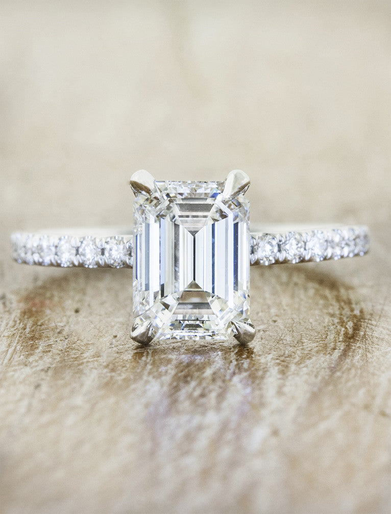 classic emerald cut diamond solitaire engagement ring;caption:1.60ct. Emerald Cut Diamond Platinum