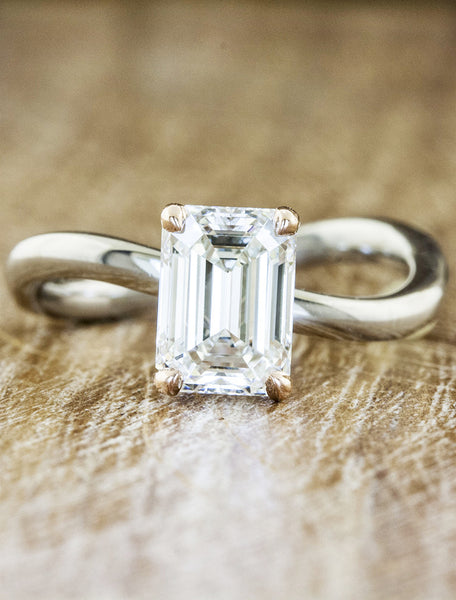 wave band emerald cut diamond engagement ring