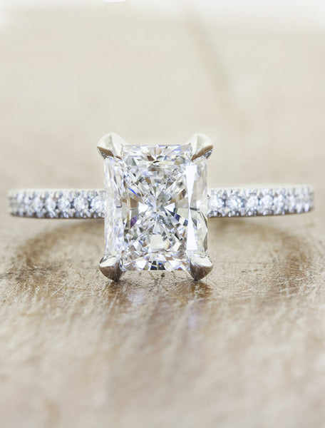 Classic solitaire pave diamond band caption:2.00ct. Emerald Cut Diamond Platinum