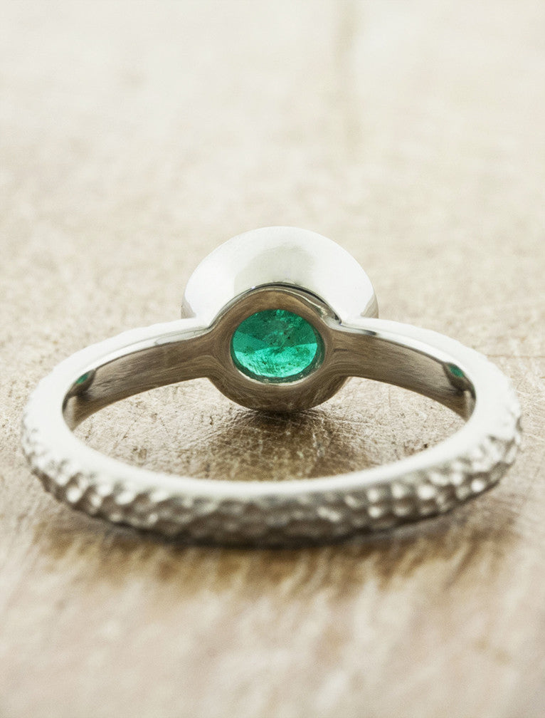 textured band emerald engagement ring